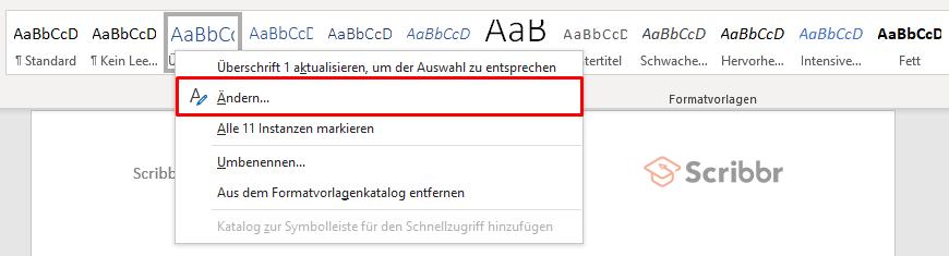 ueberschrift aendern word