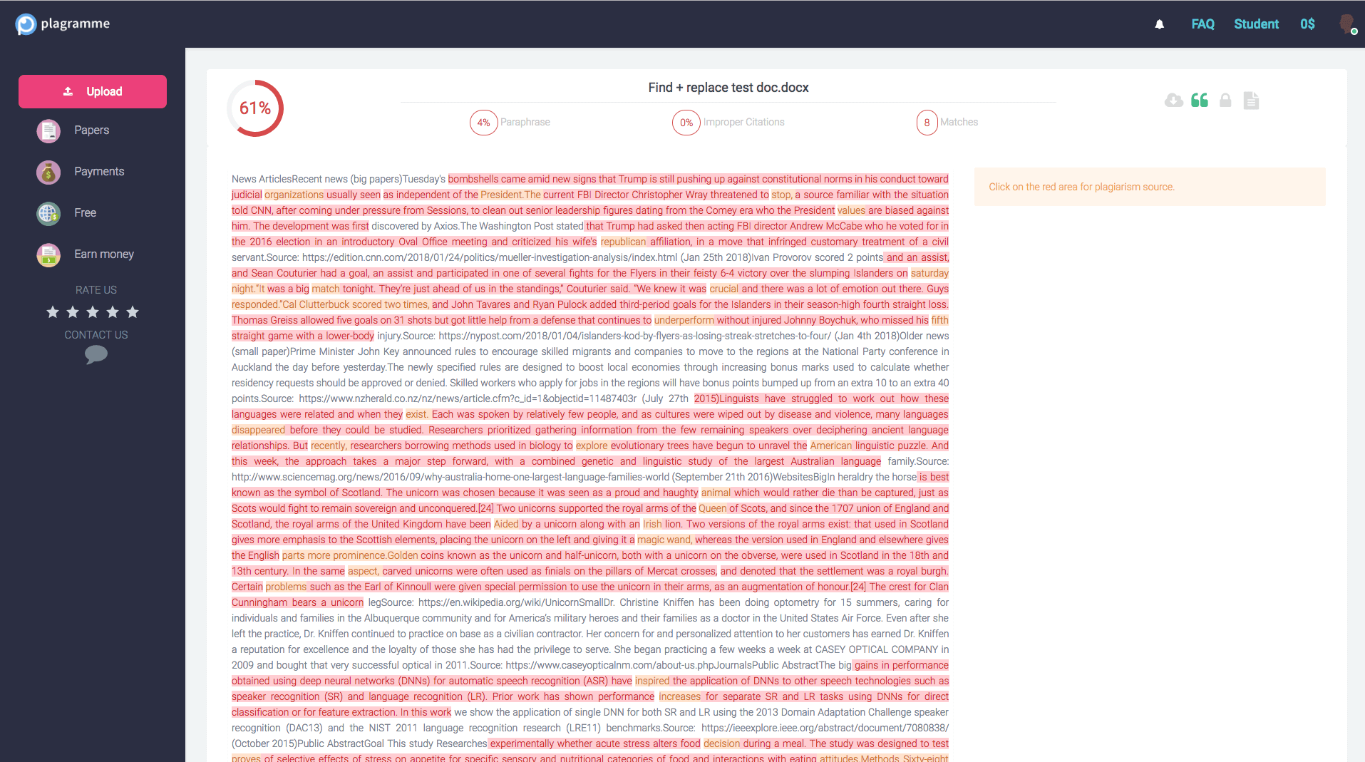 Plagramme Plagiarism Checker report