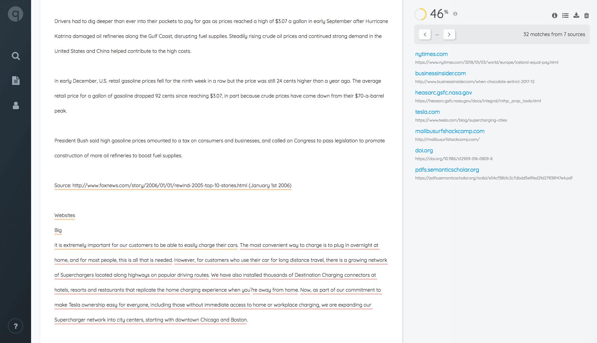 Quetext Plagiarism Checker report
