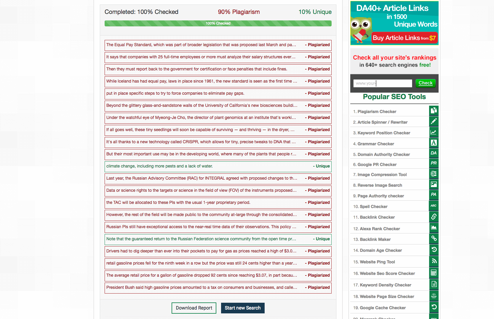 Smallseotools Plagiarism Checker report