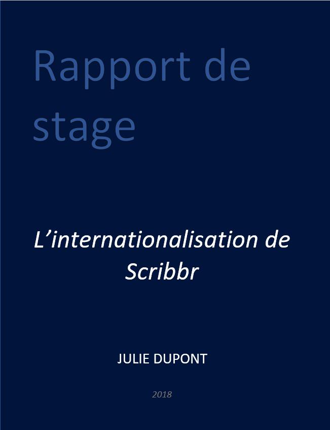 Couverture De Rapport De Stage