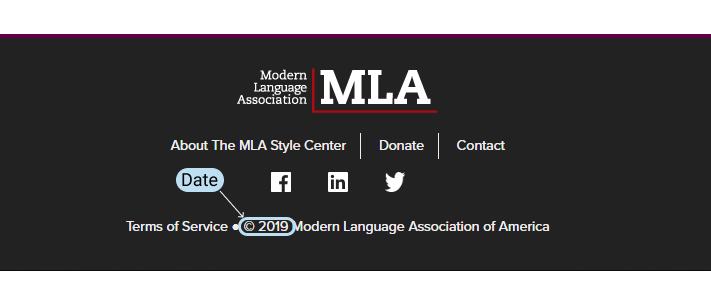 Copyright date in an MLA website citation