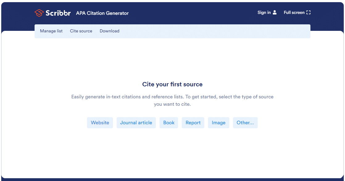 A screenshot of the Scribbr APA Citation Generator