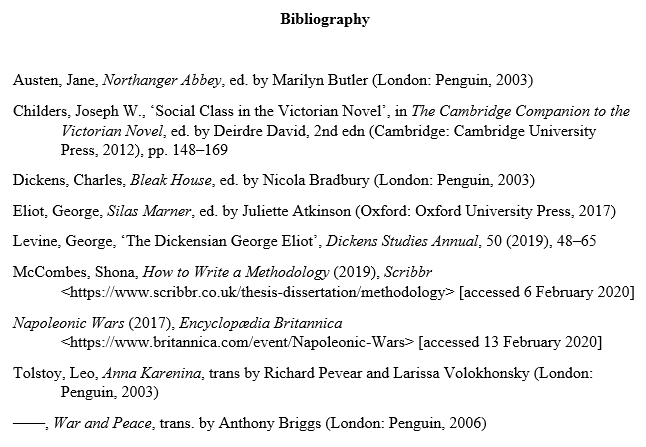 MHRA bibliography example