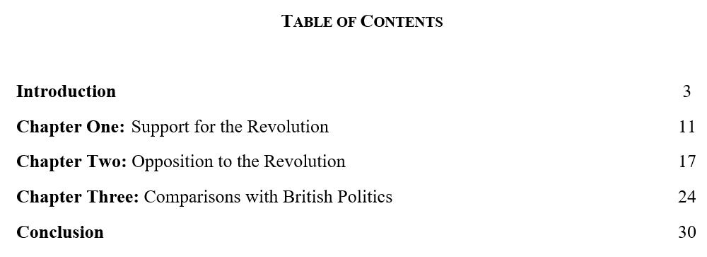 Example of a dissertation structure in history