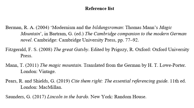 Harvard reference list example
