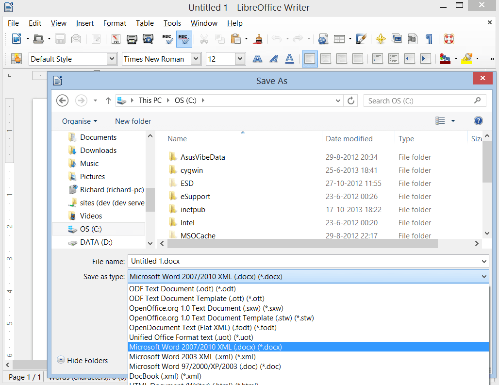 How do you convert an  odt document to a  docx document?