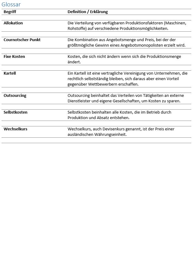 Das Glossar Einer Abschlussarbeit