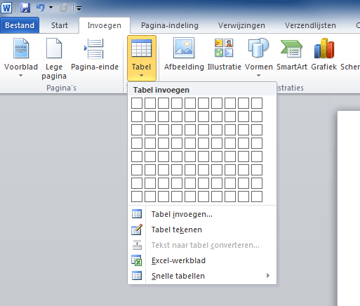 Tabel invoegen in Word