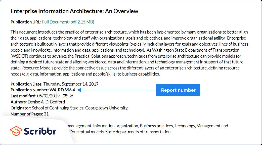 APA report number in database