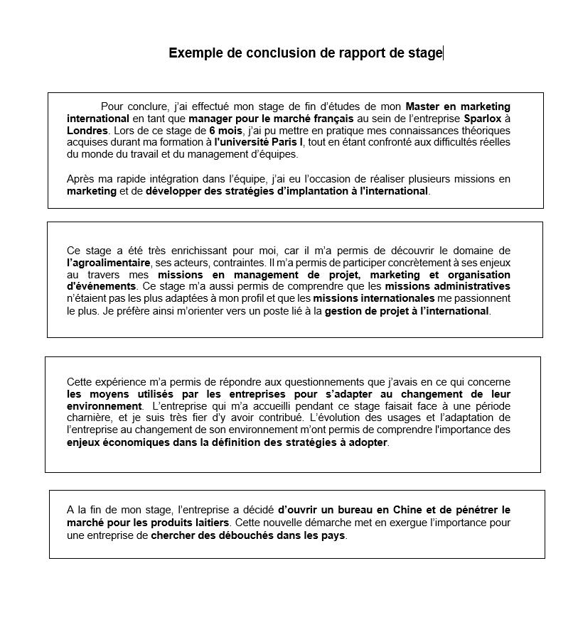 Conclusion De Rapport De Stage Avec Exemple