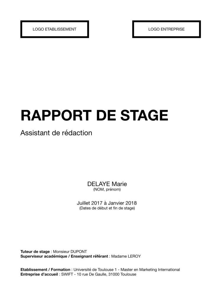 La Page De Garde D Un Rapport De Stage Comment Faire
