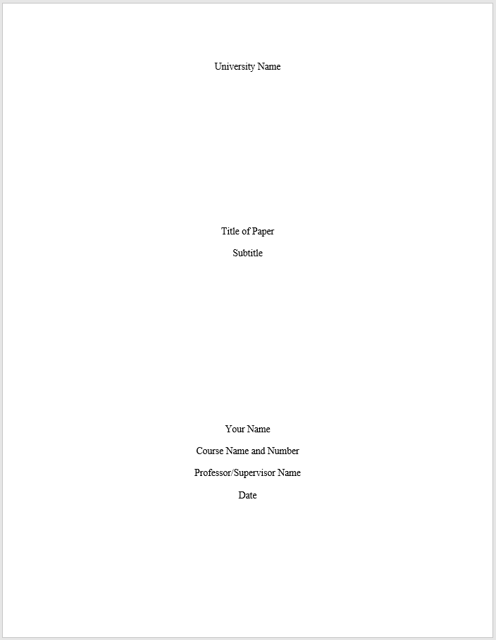 How to make a title page for an essay