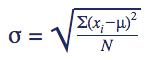 Formule standaarddeviatie populatie