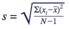 Formule standaarddeviatie steekproef