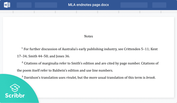 MLA endnotes page