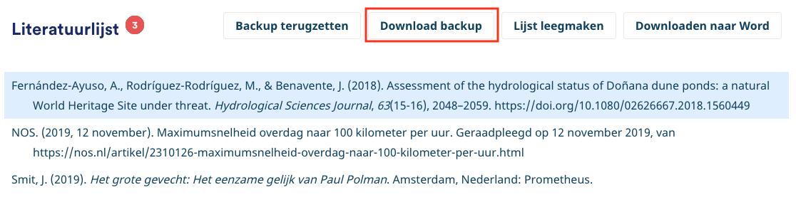 Back-up downloaden