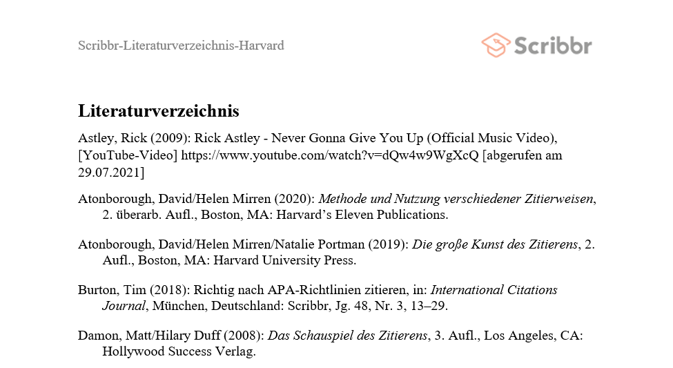 Harvard-Literaturverzeichnis Beispiel