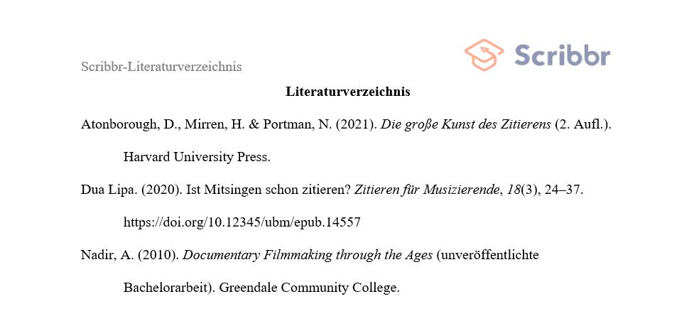 APA-Literaturverzeichnis Vorschau