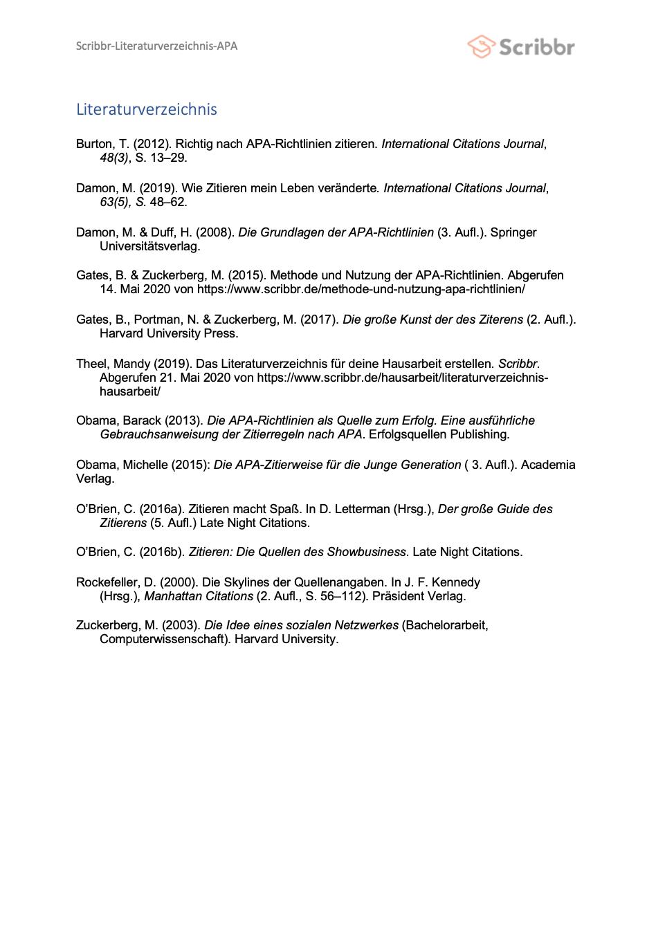 literaturverzeichnis apa vorschau