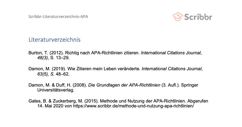 literaturverzeichnis nach apa-richtlinien