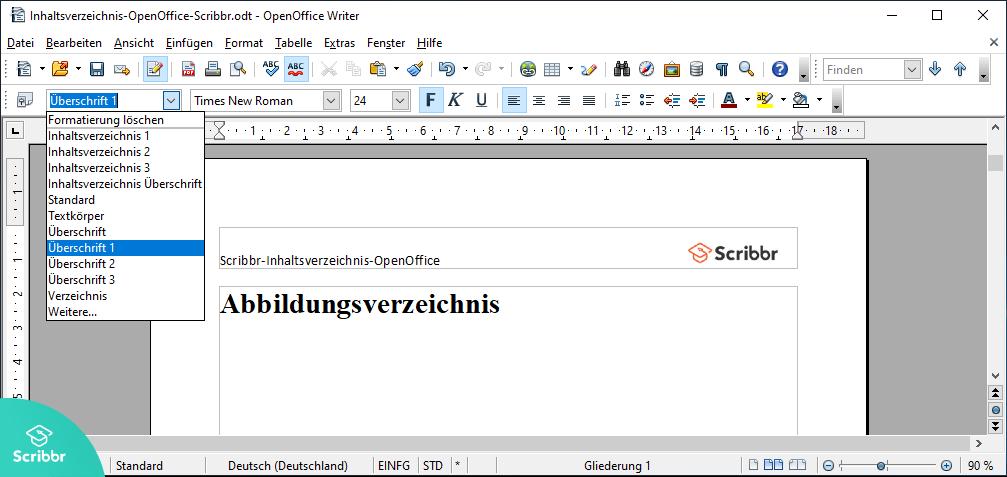 Inhaltsverzeichnis-OpenOffice-Formatvorlage-Scribbr