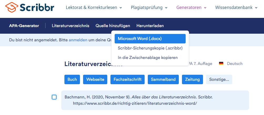 literaturverzeichnis-word-herunteralden-scribbr-generator