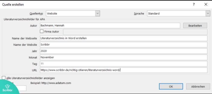 literaturverzeichnis-word-quelle-eintragen-scribbr