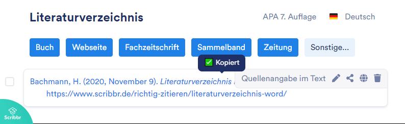 literaturverzeichnis-word-scribbr-generator-quelle-kopieren