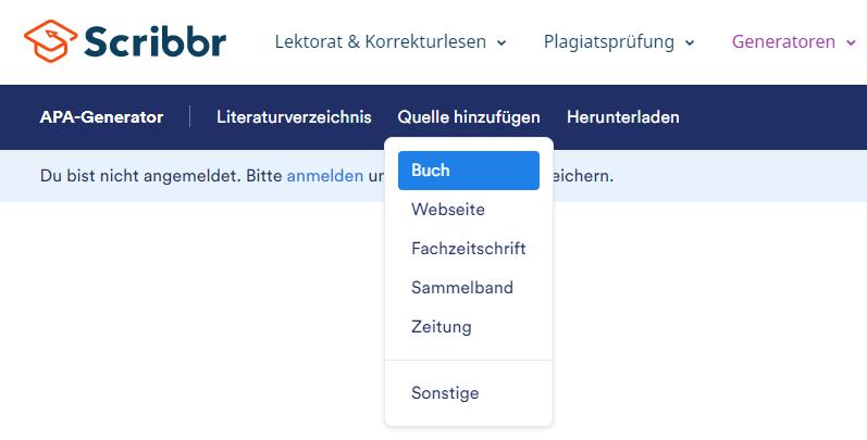 literaturverzeichnis-word-scribbr-generator-quelle-wählen