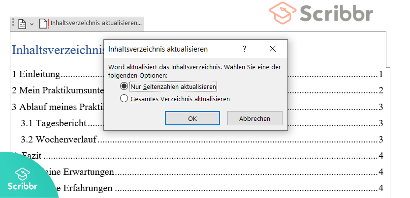 praktikumsbericht-inhaltsverzeichnis-aktualisieren-scribbr