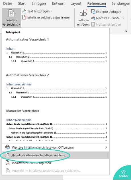 anhangsverzeichnis-word-benutzerdefiniertes-inhaltsverzeichnis-scribbr