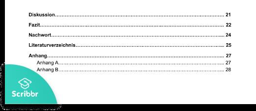 Anhang im Inhaltsverzeichnis APA-Stil