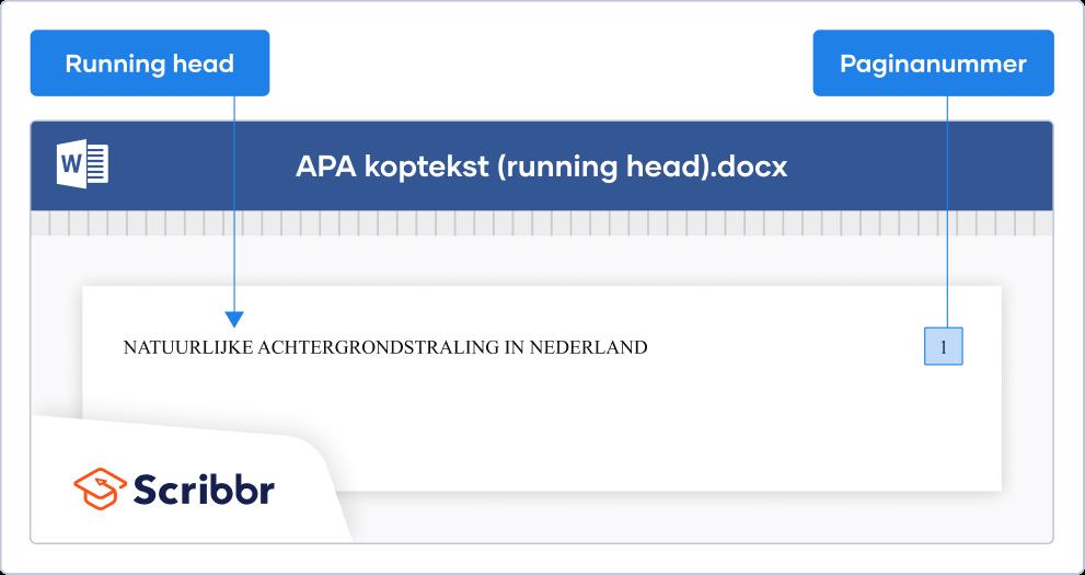 APA running head koptekst (7de editie)